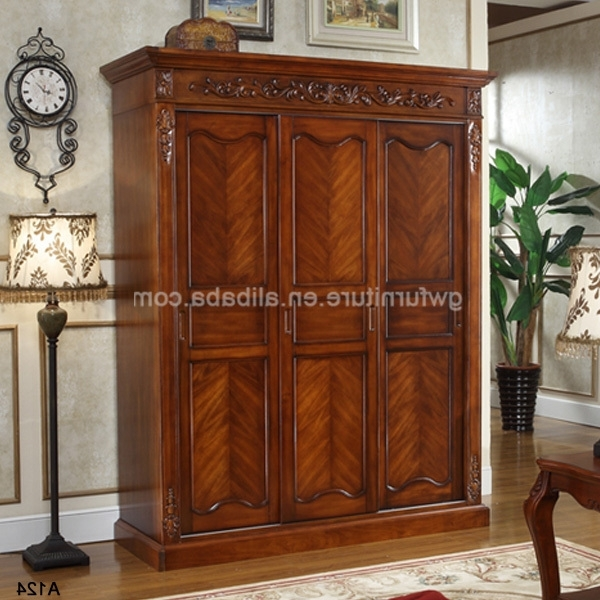 Dark Cherry Antique Solid Wood Wardrobe A126 Buy Antique Cherry clearly intended for Solid Dark Wood Wardrobes (Image 27 of 30)