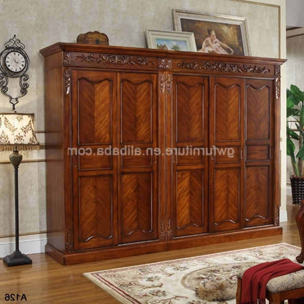 Dark Cherry Antique Solid Wood Wardrobe A126 Buy Antique Cherry very well regarding Solid Dark Wood Wardrobes (Image 12 of 30)