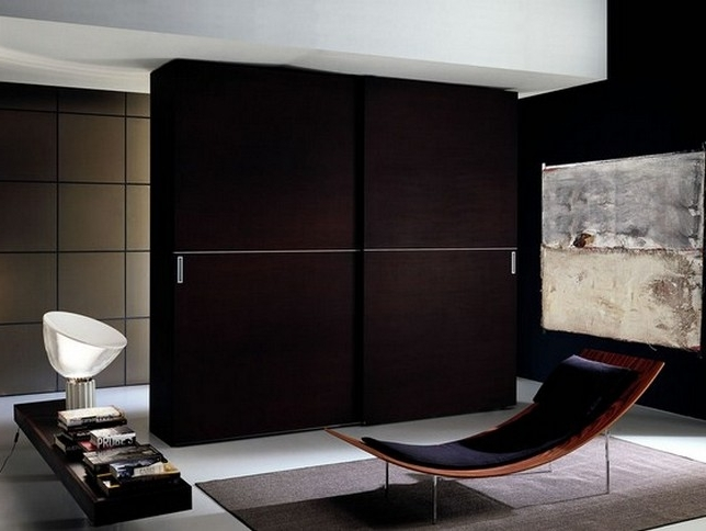 Home Decor Sliding Doors: 30 Ideas Of Dark Wood Wardrobe Sliding Doors