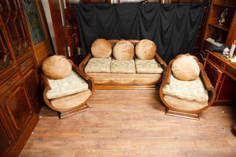 Deco Sofa Couch 3 Piece Suite Chairs 1930s Walnut Armchair For Most Certainly In 1930s Couch (View 18 of 20)