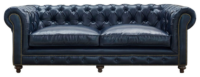 Deep Blue Chesterfield Style Sofa Button Tufted Traditional certainly intended for Blue Tufted Sofas (Image 9 of 20)