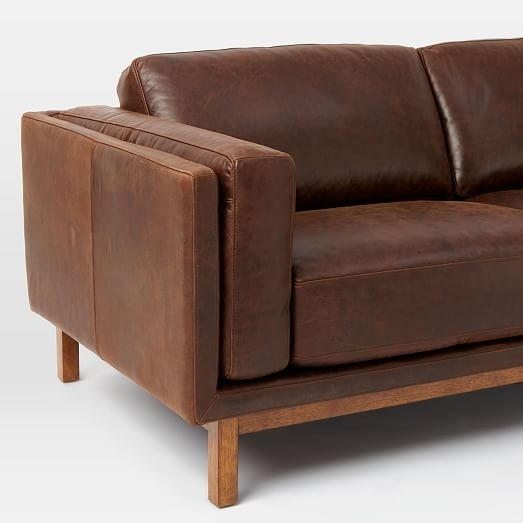 Dekalb Leather Sofa 85 West Elm certainly with regard to Aniline Leather Sofas (Image 11 of 20)