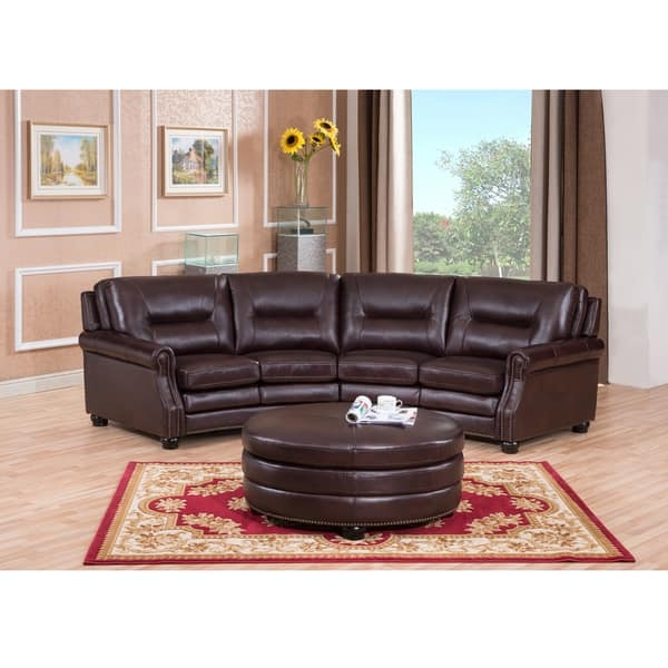 Delta Chocolate Brown Curved Top Grain Leather Sectional Sofa And properly inside Chocolate Brown Sectional Sofa (Image 16 of 20)