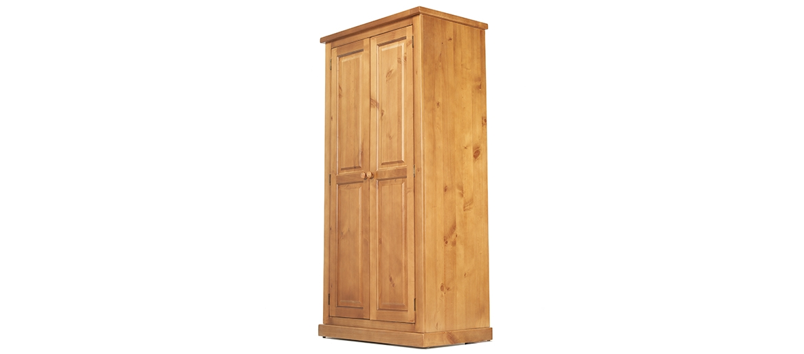 Devon Pine Ladies Double Wardrobe Quercus Living clearly for Double Rail Wardrobes (Image 11 of 20)