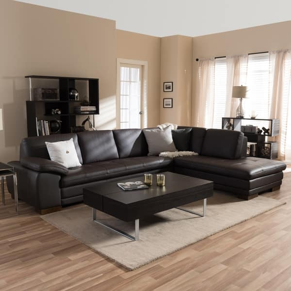 Diana Dark Brown Leather Sectional Sofa Set Free Shipping Today most certainly inside Diana Dark Brown Leather Sectional Sofa Set (Image 15 of 20)
