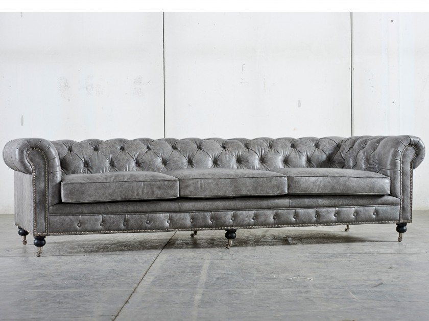 Distressed Gray Leather Couch Google Search Dream Home certainly inside Affordable Tufted Sofa (Image 11 of 20)