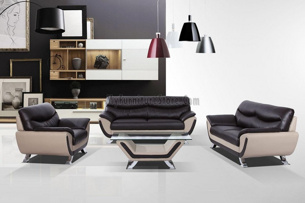 Divani Casa 3035c Modern Leather Two Tone Contemporary Sofa Set good in Two Tone Sofas (Image 7 of 20)