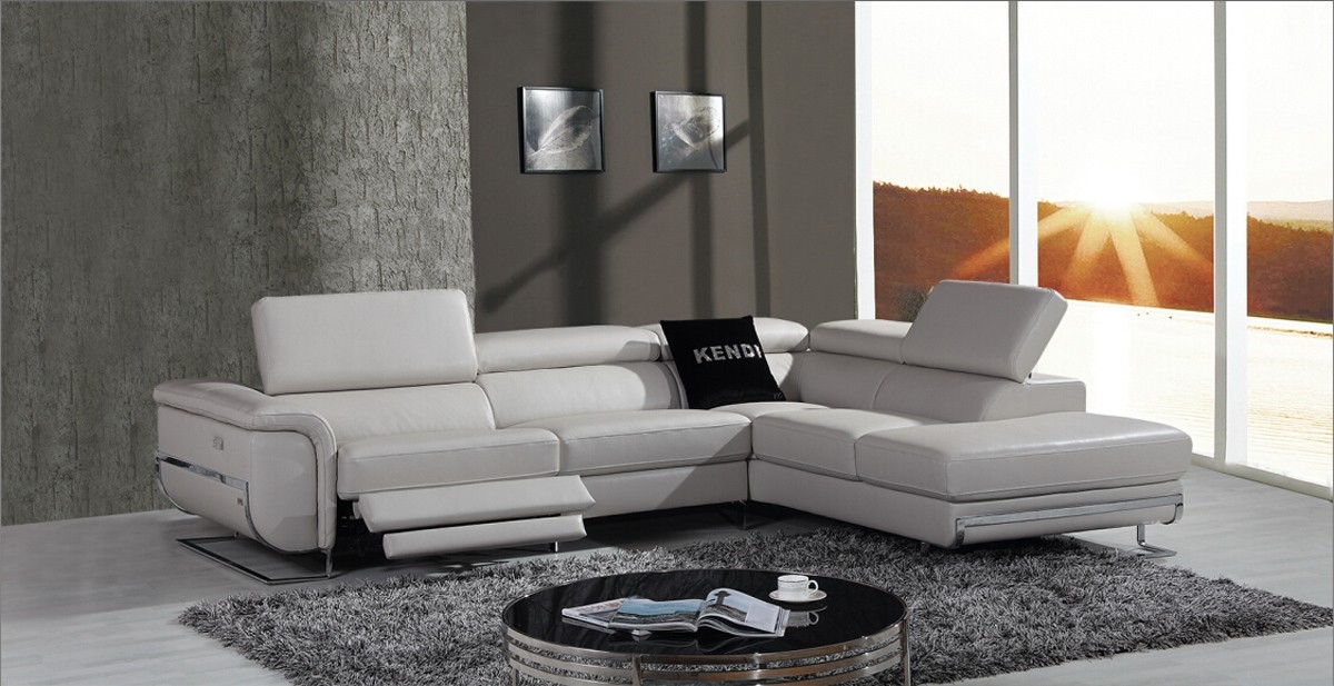 Divani Casa E9054 Modern Grey Leather Sectional Sofa W Recliner good pertaining to Modern Sofas Sectionals (Image 7 of 20)
