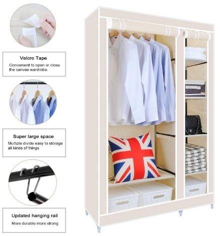 Double Canvas Wardrobe Cupboard Clothes Storage Solution With definitely regarding Double Canvas Wardrobe Rail Clothes Storage Cupboard (Image 19 of 20)
