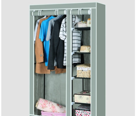 Double Canvas Wardrobe Cupboard Clothes Storage With Hanging Rail definitely within Double Canvas Wardrobe Rail Clothes Storage Cupboard (Image 11 of 20)