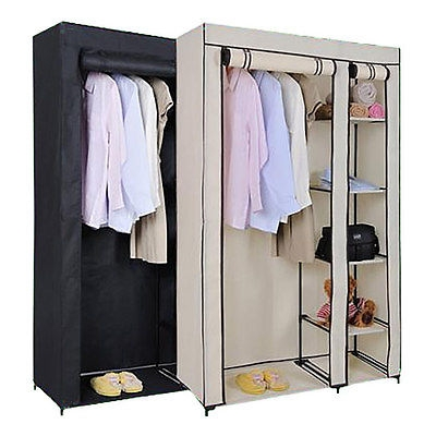 Double Canvas Wardrobe Rail Clothes Storage Cubpboard Black And effectively pertaining to Double Canvas Wardrobe Rail Clothes Storage Cupboard (Image 2 of 20)