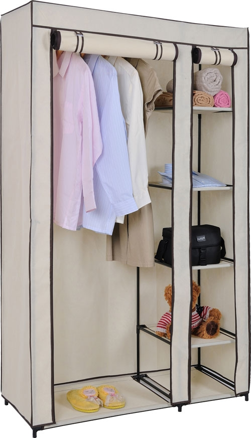 Double Canvas Wardrobe Rail Clothes Storage Cupboard Ebay clearly inside Double Canvas Wardrobe Rail Clothes Storage Cupboard (Image 6 of 20)