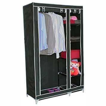 Double Canvas Wardrobe W Clothes Hanging Rail Storage Shelves properly regarding Double Rail Wardrobes (Image 16 of 20)
