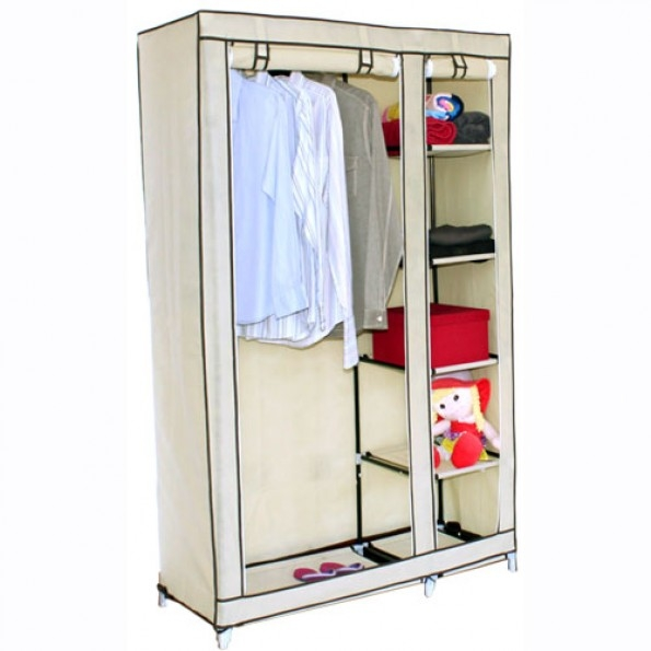 Double Canvas Wardrobe W Hanging Rail Storage Shelves effectively regarding Wardrobe Double Hanging Rail (Image 14 of 20)