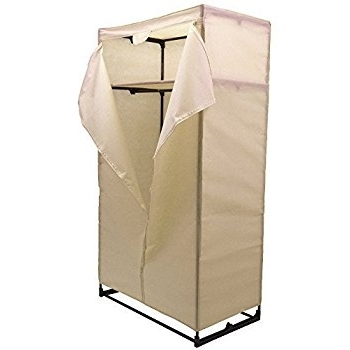 Double Large Cream Portable Canvas Wardrobe Cupboard Amazoncouk very well within Large Double Rail Wardrobes (Image 30 of 30)