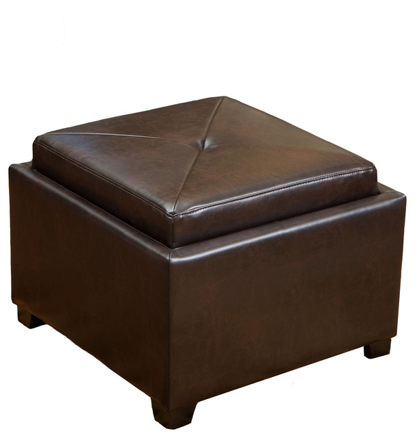 Durban Tray Top Storage Brown Leather Ottoman Coffee Table very well in Brown Leather Ottoman Coffee Tables With Storages (Image 15 of 20)