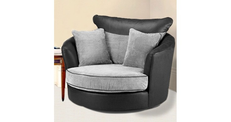 Eclypse Fabric Corner Sofa Suite Black Grey Cheap Sofas very well with regard to Corner Sofa And Swivel Chairs (Image 14 of 20)