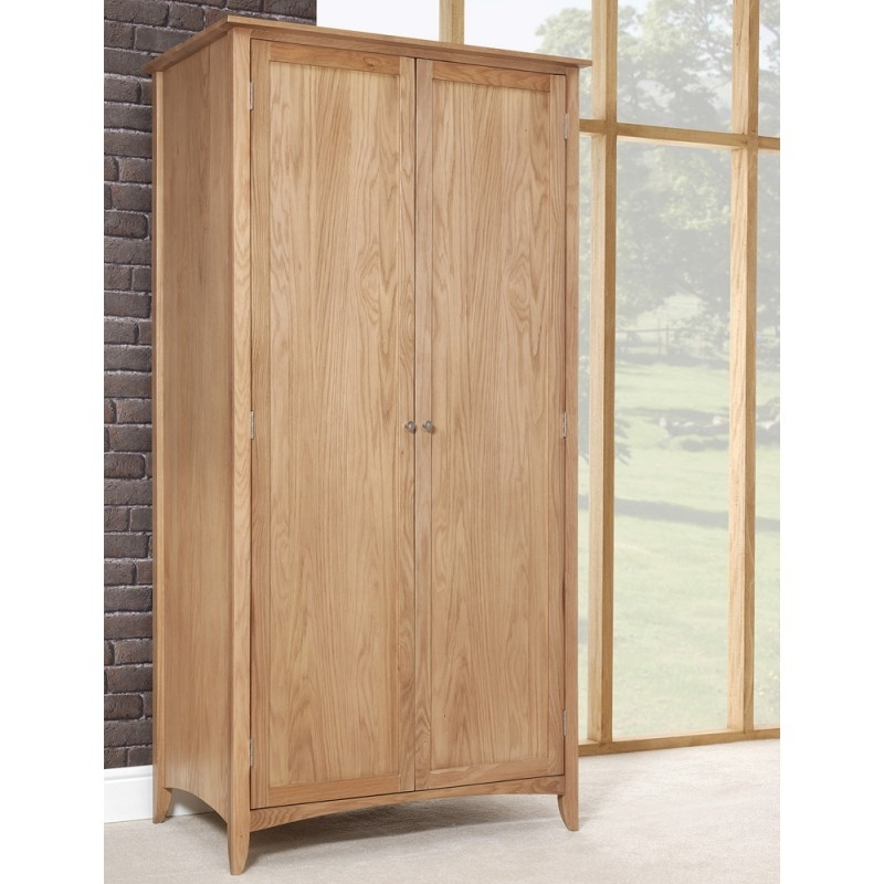 Edward Hopper Oak Double Wardrobe Bedroom Furniture Direct clearly pertaining to Large Double Rail Wardrobes (Image 10 of 30)