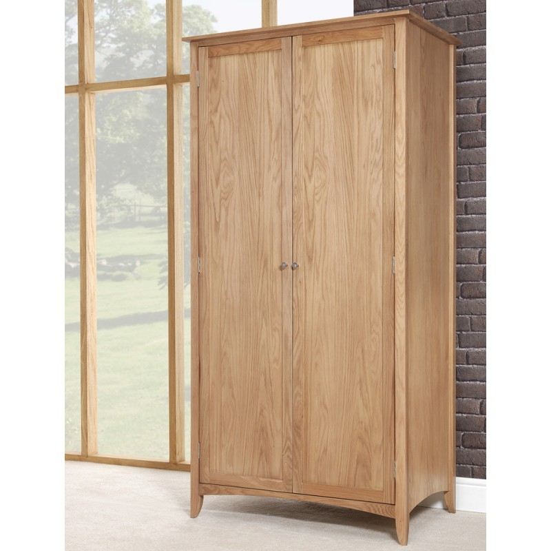 Edward Hopper Oak Double Wardrobe Bedroom Furniture Direct very well throughout Wardrobe Double Hanging Rail (Image 17 of 20)