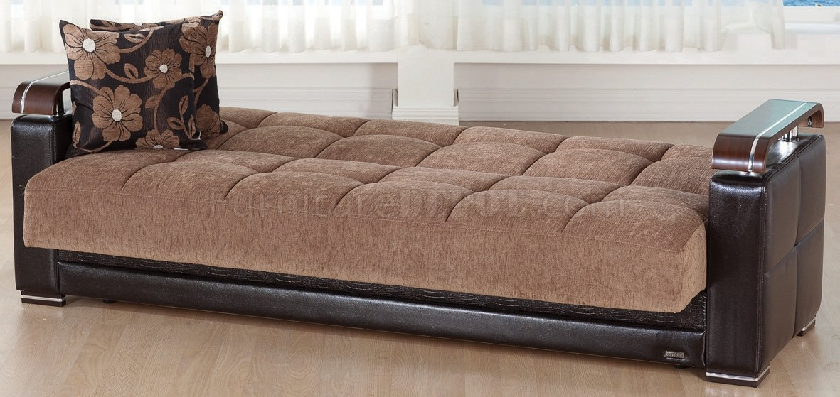 Ekol Yuky Convertible Sofa In Brown Fabricleather Sunset Very Well Throughout Sofa Convertibles (View 9 of 20)