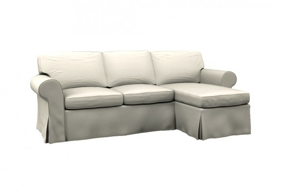 Ektorp Two Seat Sofa W Chaise Lounge Right Cover Event White perfectly in Sofas With Chaise Longue (Image 6 of 20)