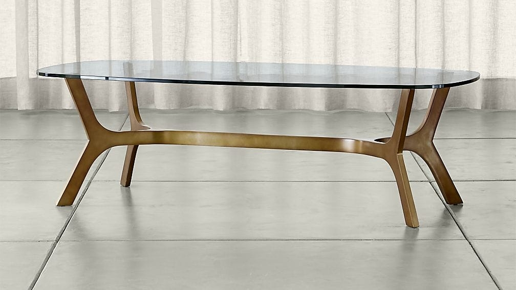 Elke Rectangular Glass Coffee Table With Brass Base Crate And Barrel effectively for Glass Coffee Tables (Image 12 of 20)