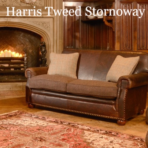Englishmans Castle Leather Fabric Mix Sofas Leather And Fabric nicely for Tweed Fabric Sofas (Image 6 of 20)