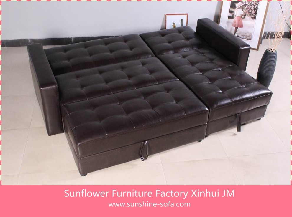 European Futons Leather Corner Sofa Bed With Storage Buy good intended for Corner Couch Bed (Image 6 of 20)