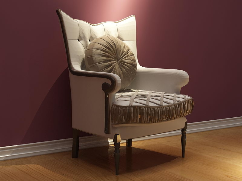 European Style High Back And Elegant Single Sofa 3d Model properly within High Back Sofas And Chairs (Image 7 of 20)