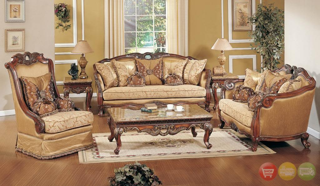 Exposed Wood Luxury Traditional Sofa Amp Loveseat Formal Living definitely inside Living Room Sofa and Chair Sets (Image 7 of 20)
