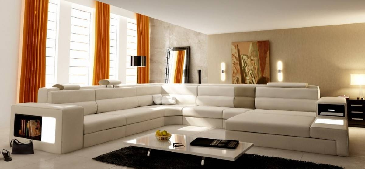 Extra Large Leather Sectional Sofa With Attached Corner Table clearly in Extra Wide Sectional Sofas (Image 8 of 20)