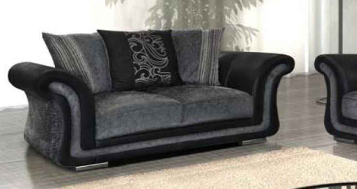 Fabric 2 Seater Sofa Black Grey nicely regarding Black 2 Seater Sofas (Image 11 of 20)