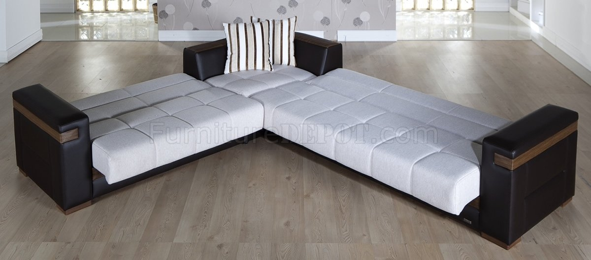Fabric Dark Leatherette Convertible Sectional Sofa Bed Most Certainly Pertaining To Sectional Sofa Beds (View 5 of 20)