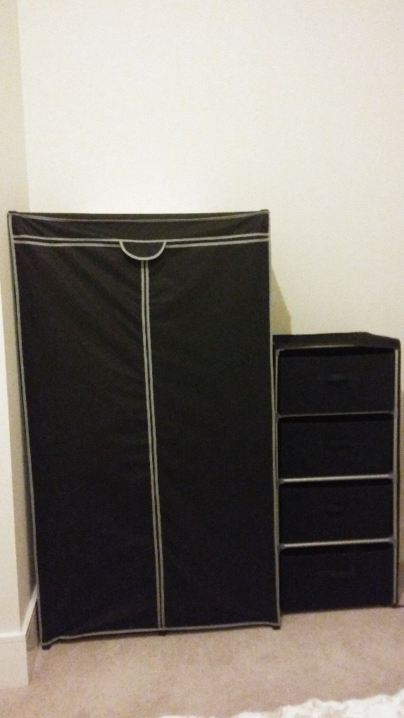 Fabric Double Clothes Rail Wardrobe And 3 Drawer Chest In properly within Double Clothes Rail Wardrobes (Image 19 of 20)