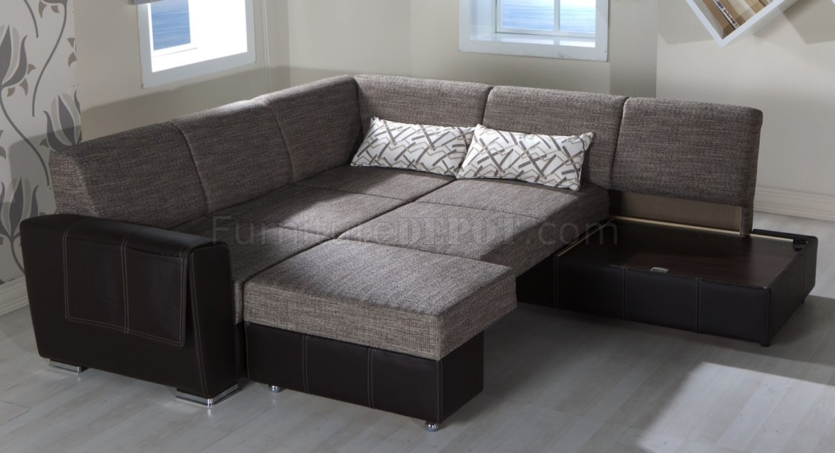 Fabric Leatherette Base Convertible Sectional Sofa Bed good intended for Convertible Sectional Sofas (Image 11 of 20)