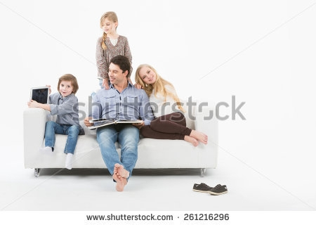 Family On Sofa Stock Photos Royalty Free Images Vectors most certainly inside Family Sofa (Image 8 of 20)