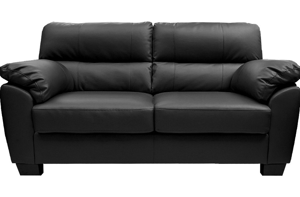 Fancy Black Leather Sofa 2 Seater Buy Cheap Black Faux Leather effectively with regard to Black 2 Seater Sofas (Image 12 of 20)