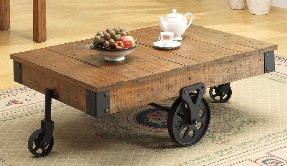 Fancy Rustic Coffee Table On Wheels Coffee Table Rustic Coffee clearly with Rustic Coffee Table With Wheels (Image 10 of 20)