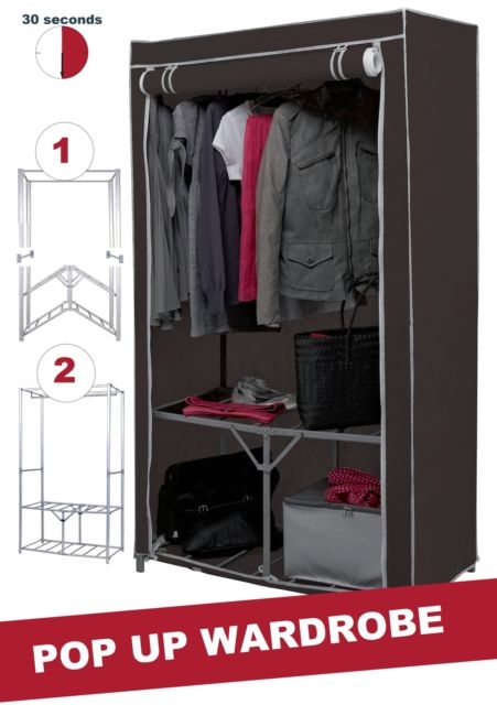 Fast Build Double Canvas Wardrobe Clothes Cupboard Hanging Rail good for Double Canvas Wardrobe Rail Clothes Storage Cupboard (Image 16 of 20)