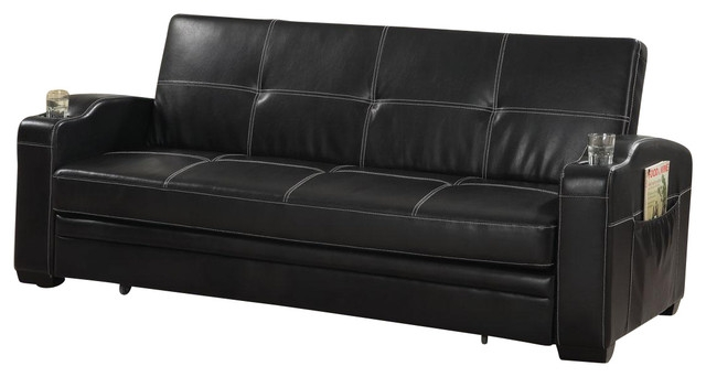 Faux Soft Leather Sofa Bed Sleeper Lounger W Storage Cup Holders certainly with Leather Sofa Beds With Storage (Image 11 of 20)