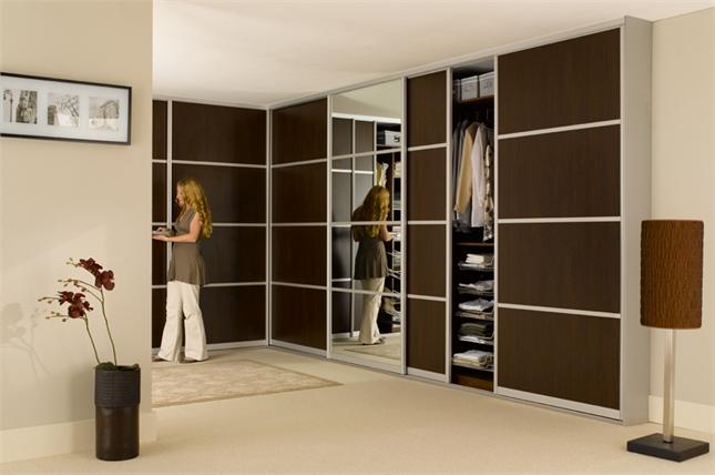 Fitted Sliding Wardrobe Dark Wood Mirror Thumb 645428 definitely inside Dark Wood Wardrobes (Image 10 of 20)