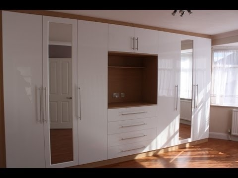 Fitted Wardrobes Oak Gloss White Youtube certainly regarding Built In  Wardrobes With Tv Space (Image