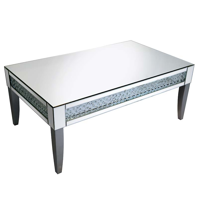 Floating Crystal Silver Leg Mirrored Coffee Table 2 Chic well intended for Floating Glass Coffee Tables (Image 8 of 20)