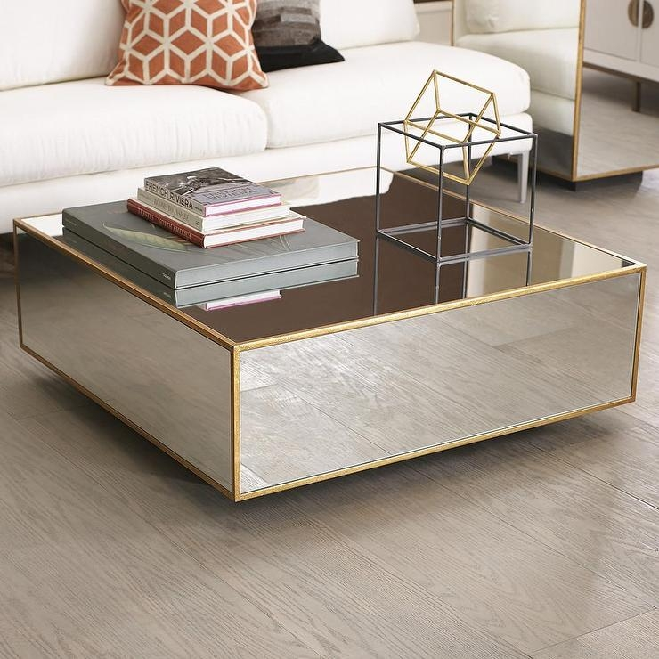 Floating Mirrored And Gold Coffee Table Beautiful Homes effectively within Floating Glass Coffee Tables (Image 9 of 20)
