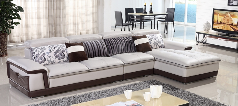 Free Shipping Genuine Leather Sofa Top Grain Cattle Leather L very well with Unique Corner Sofas (Image 8 of 20)