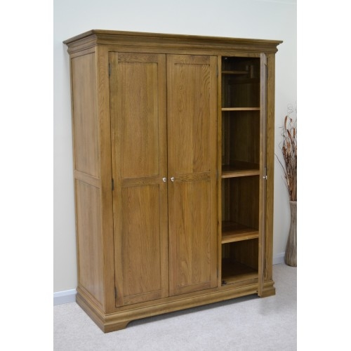 French Farmhouse Oak 3 Door Triple Wardrobe With Shelves perfectly with regard to Wardrobes With Shelves  (Image 17 of 20)