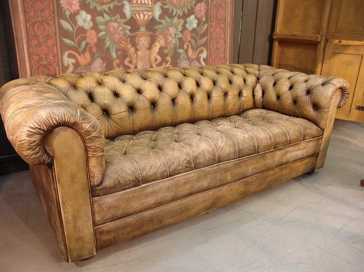 French Vintage Leather Chesterfield Sofa Sold Leather very well throughout Vintage Leather Sectional Sofas (Image 15 of 20)
