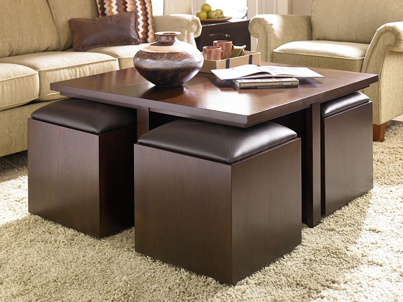 Fresco Of Get A Compact And Multi Functional Living Room Space nicely throughout Brown Leather Ottoman Coffee Tables With Storages (Image 17 of 20)