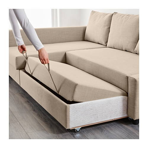 Friheten Corner Sofa Bed With Storage Skiftebo Beige Ikea clearly for Corner Sofa Bed With Storage Ikea (Image 6 of 20)