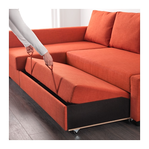 Friheten Corner Sofa Bed With Storage Skiftebo Dark Orange Ikea clearly intended for Orange IKEA Sofas (Image 5 of 20)